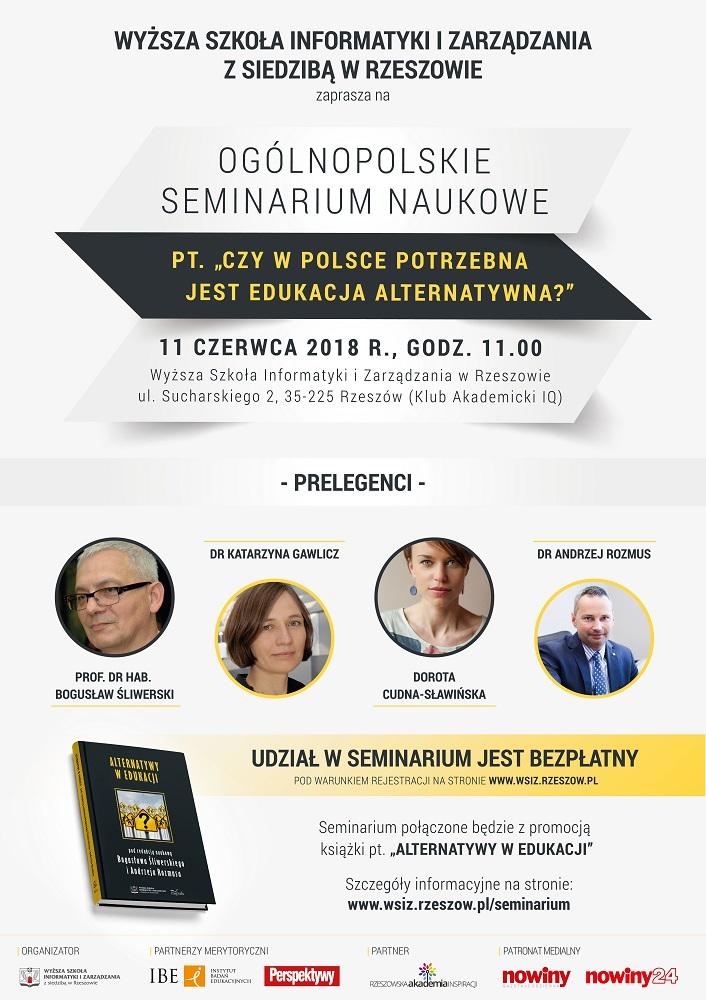 Ogólnopolskie Seminarium Naukowe – Czy w Polsce potrzebna jest edukacja alternatywna?